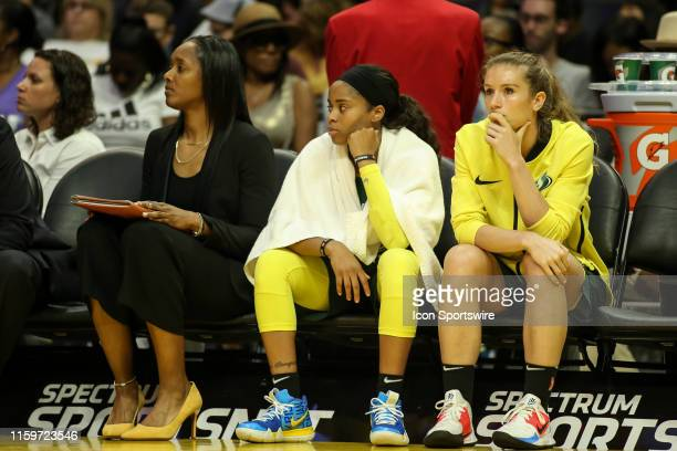Seattle Storm guard Jordin Canada on the bench during the Seattle Storm vs Los Angeles Sparks game on August 04 at Staples Center in Los Angeles CA