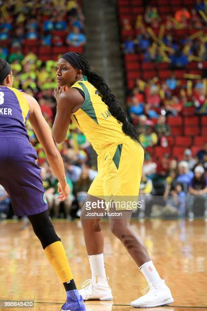 Seattle Storm handles the ball against the Los Angeles Sparks on July 10 2018 at Key Arena in Seattle Washington NOTE TO USER User expressly...