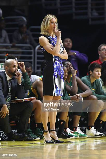 Seattle Storm head coach Jenny Boucek observing during the Seattle Storm vs the Los Angeles Sparks at Staples Center on June 14 2015 in Los Angeles...