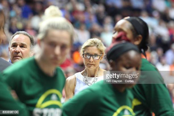 Seattle Storm head coach Jenny Boucek on the sideline during the Connecticut Sun Vs Seattle Storm WNBA regular season game at Mohegan Sun Arena on...