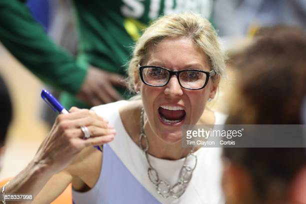 Seattle Storm head coach Jenny Boucek talking to her team during a time out during the Connecticut Sun Vs Seattle Storm WNBA regular season game at...