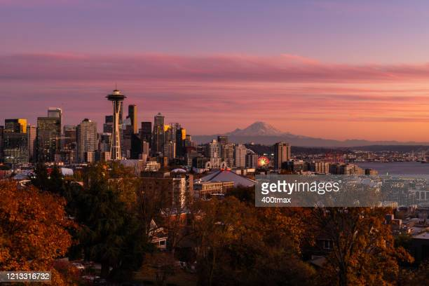 seattle sunset - puget sound stock pictures, royalty-free photos & images