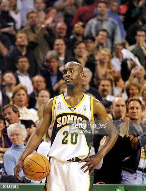 Seattle Supersonic Gary Payton stands and waits for the buzzer during the final seconds of their Western Conference Playoffs game against the San...