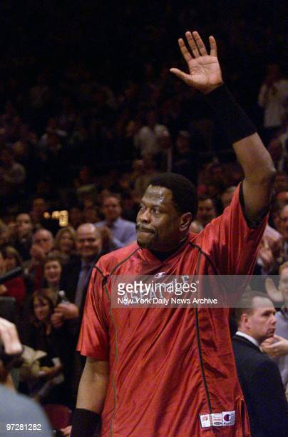 Seattle Supersonics' Patrick Ewing waves to the crowd after receiving a standing ovation prior to a game against the New York Knicks It was Ewing's...