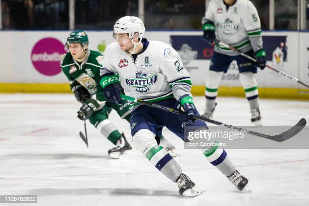 Seattle Thunderbirds forward Matthew Wedman circles back into the play during the third period of a game between the Seattle Thunderbirds and the...