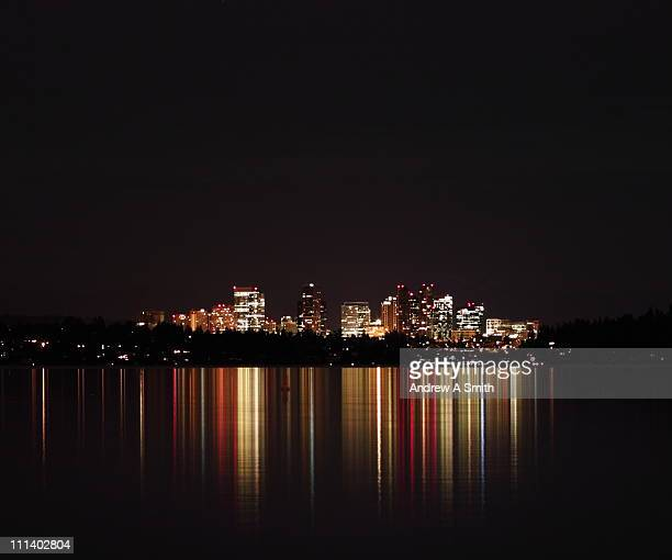 seattle to bellevue - bellevue skyline stock pictures, royalty-free photos & images