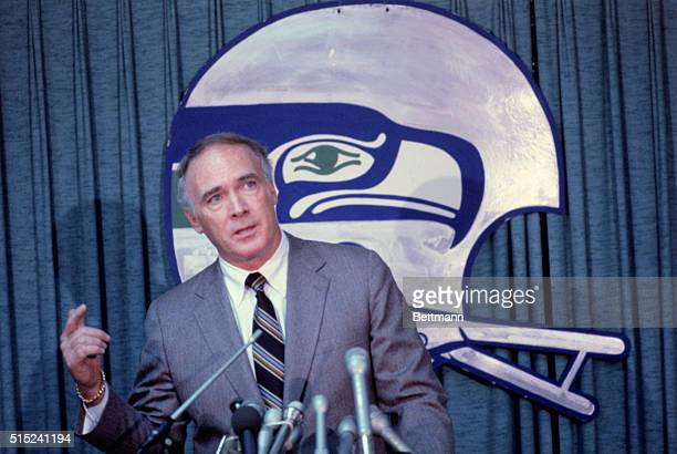 Chuck Knox holds a press conference after the Seattle Seahawks named him head coach of the team 1/26 Knox who has guided teams to the NFL playoffs in...