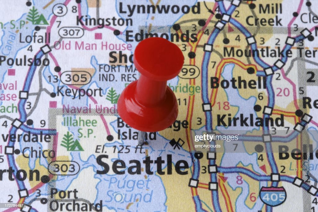 Seattle Washington On A Map Stock Photo Getty Images