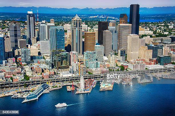 Seattle Waterfront and Skyline Aerial View