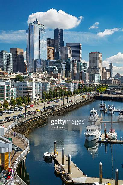 seattle waterfront park and downtown. - seattle stock pictures, royalty-free photos & images