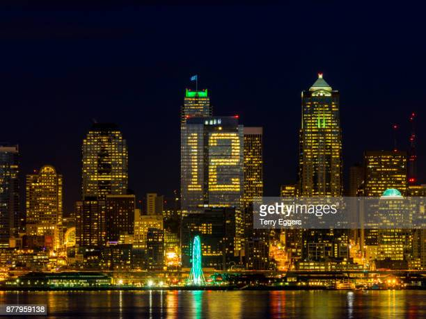 Seattle waterfront with reflection and the Building with the number 12