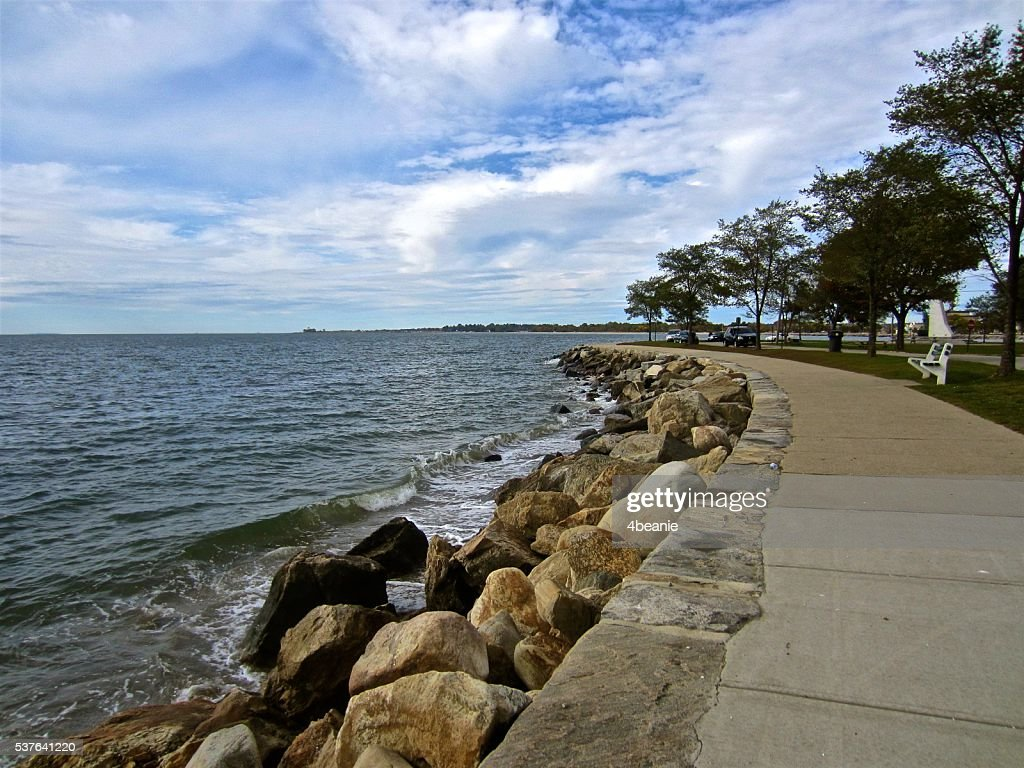 Seawall View under Cloudy Skies : Stock Photo