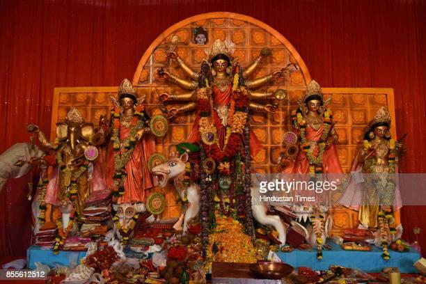Seawoods Cultural Welfare Association Durga pandal at Seawoods on September 29 2017 in Navi Mumbai India