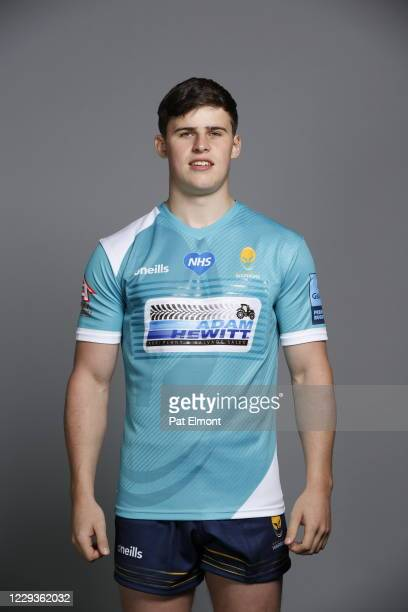 Seb Atkinson poses for a portrait during the Worcester Warriors squad photo call for the 202021 Gallagher Premiership Rugby season on on October 28...