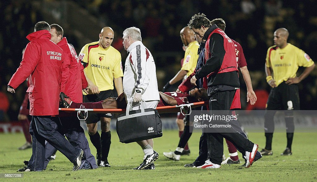 Seb Carole of Brighton & Hove Albion is stretchered off during the Coca-Cola Championship match between Watford and Brighton & Hove Albion at Vicarage Road on December 3, 2005 in Watford, England.