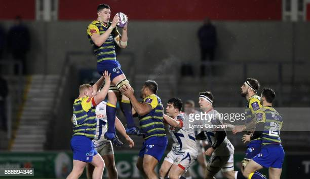 Seb Davies of Cardiff Blues takes a ball in the line out during The European Rugby Challenge Cup match on December 9 2017 in Salford United Kingdom