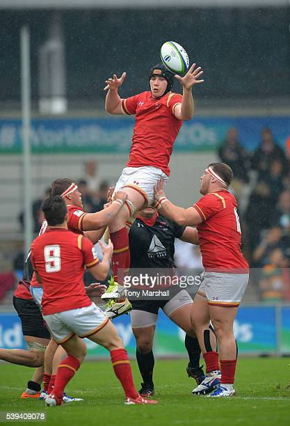 Seb Davies of Wales gathers the ball in the line out during the World Rugby U20 Championship match between Wales and Georgia at The Academy Stadium...