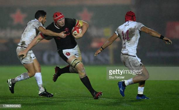 Seb Davies of Wales hands off Tedo Abzhandadze of Georgia during the Autumn Nations Cup 2020 match between Wales and Georgia at Parc y Scarlets on...