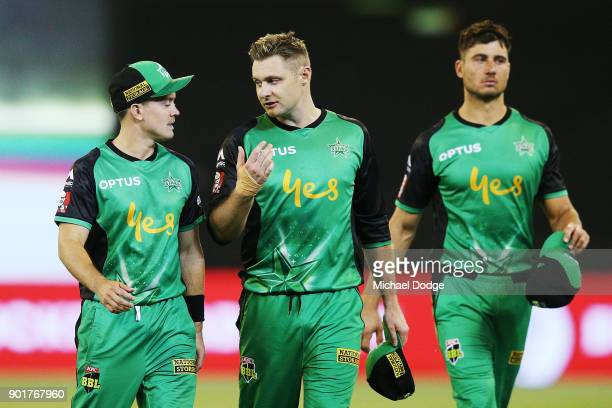 Seb Gotch and Luke Wright of the Stars look dejected afetr defeat during the Big Bash League match between the Melbourne Stars and the Melbourne...