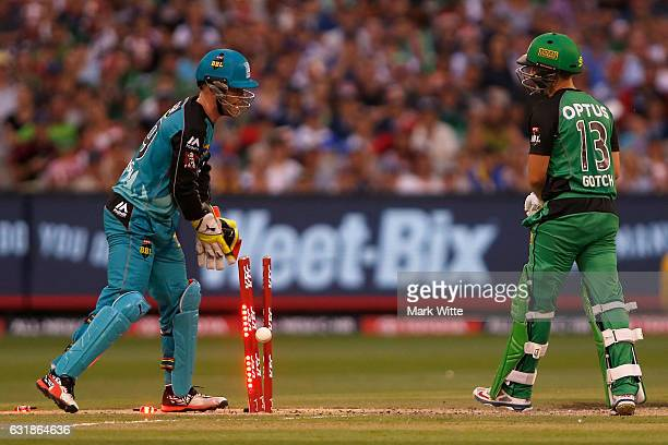 Seb Gotch looks back at his stumps after being bowled by Tymal Mills of Brisbane Heat during the Big Bash League match between the Melbourne Stars...
