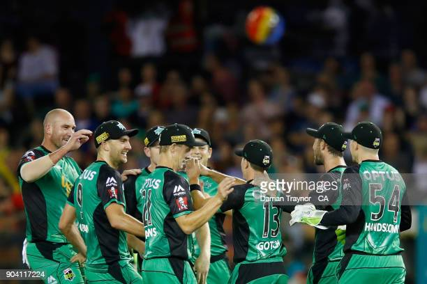 Seb Gotch of the Melbourne Stars celebrates with team mates after taking a catch to dismiss Matt Short of the Melbourne Renegade during the Big Bash...
