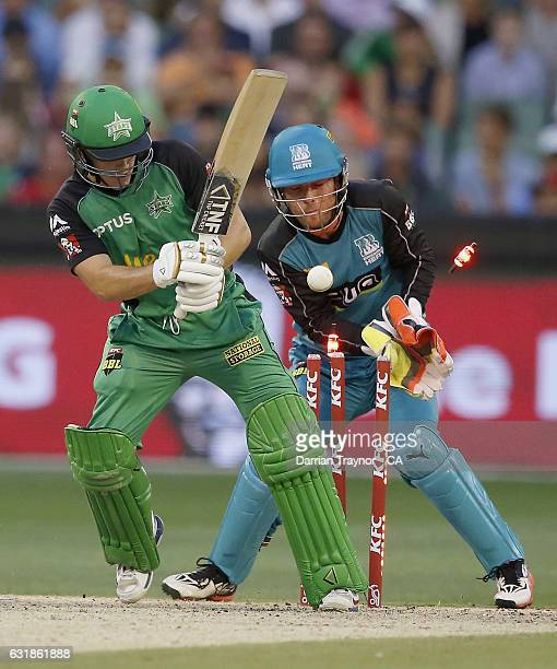 Seb Gotch of the Melbourne Stars is bowled by Mitch Swepson of the Brisbane Heat during the Big Bash League match between the Melbourne Stars and the...