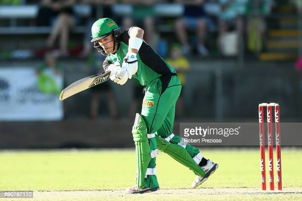 Seb Gotch of the Melbourne Stars plays a shot during the Big Bash League exhibition match between the Melbourne Stars and the Sydney Thunder at...