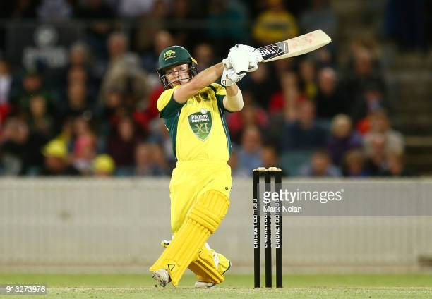 Seb Gotch of the PM's XI bats during the One Day Tour Match between the Prime Minister's XI and England at Manuka Oval on February 2 2018 in Canberra...