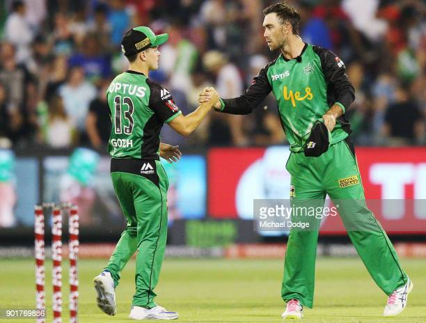Seb Gotch of the Stars and Glenn Maxwell shake hands after defeat during the Big Bash League match between the Melbourne Stars and the Melbourne...