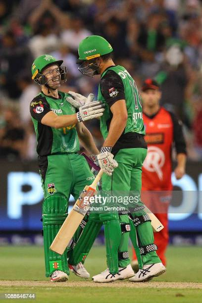Seb Gotch of the Stars congratulates teammate Marcus Stoinis after victory in the Big Bash League match between the Melbourne Stars and the Melbourne...