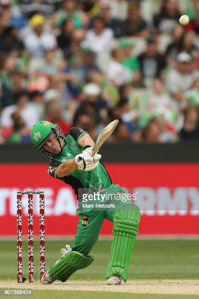 Seb Gotch of the Stars hits a six during the Big Bash League match between the Melbourne Stars and the Sydney Thunder at Melbourne Cricket Ground on...