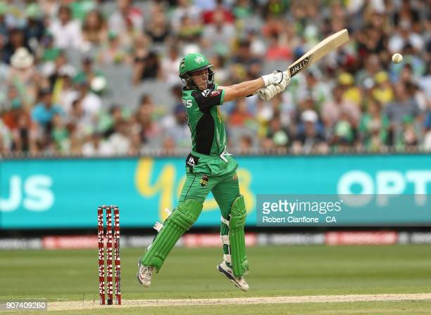 Seb Gotch of the Stars hits out during the Big Bash League match between the Melbourne Stars and the Sydney Thunder at Melbourne Cricket Ground on...