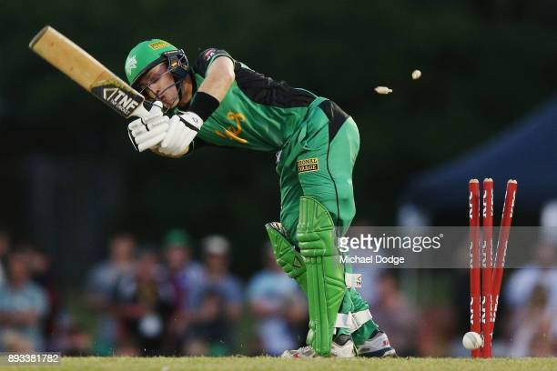 Seb Gotch of the Stars is bowled during the Twenty20 BBL practice match between the Melbourne Stars and the Hobart Hurricanes at Traralgon Recreation...
