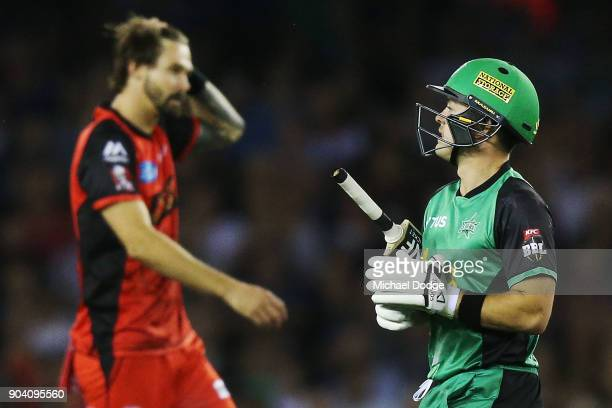 Seb Gotch of the Stars looks dejected after his dismissal during the Big Bash League match between the Melbourne Renegades and the Melbourne Stars at...