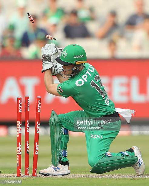 Seb Gotch of the Stars runs out Cameron Green of the Perth Scorchers during the Big Bash League match between the Melbourne Stars and the Perth...