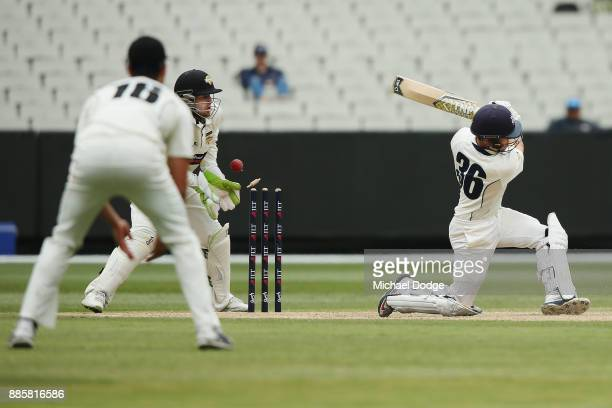 Seb Gotch of Victoria is bowled off a no ball by Ashton Agar of Western Australia during day three of the Sheffield Shield match between Victoria and...