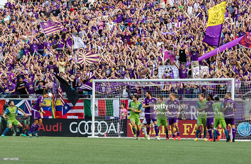 Seb Hines #3 heads the ball past the Seattle Sounders defense to give Orlando an early first half lead at Citrus Bowl on August 07, 2016 in Orlando, Florida.