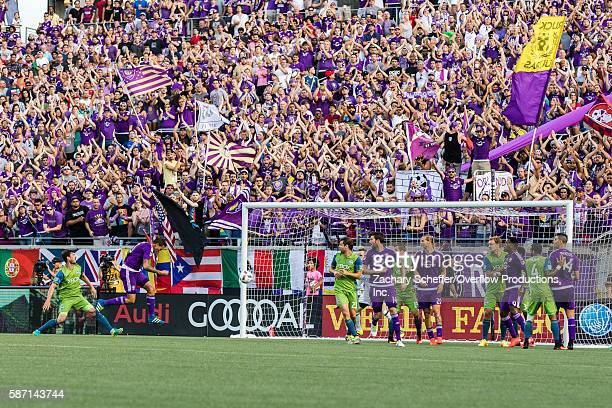August 07: Seb Hines heads the ball past the Seattle Sounders defense to give Orlando an early first half lead at Citrus Bowl on August 07, 2016 in...