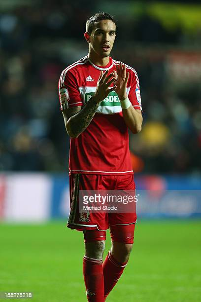 Seb Hines of Middlesbrough scorer of an own goal in his sides 01 defeat cuts a dejected figure as he applauds the travelling supporters during the...