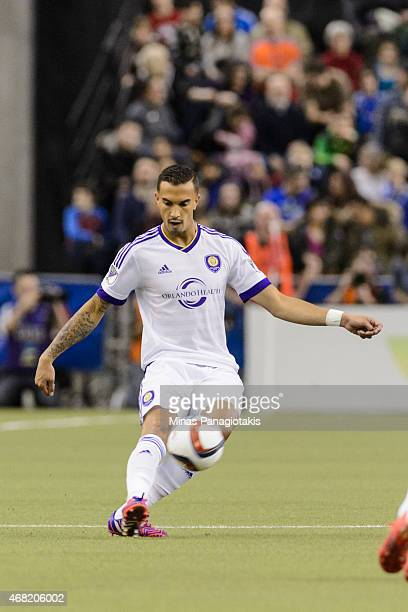 Seb Hines of the Orlando City SC kicks the ball during the MLS game against the Montreal Impact at the Olympic Stadium on March 28, 2015 in Montreal,...