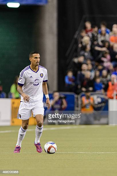 Seb Hines of the Orlando City SC moves the ball during the MLS game against the Montreal Impact at the Olympic Stadium on March 28, 2015 in Montreal,...