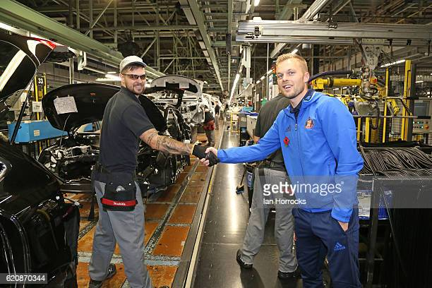 Seb Larsson meets staff during a Sunderland team visit to the Nissan plant on November 3 2016 in Sunderland England