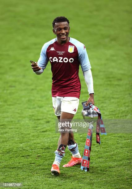 Seb Revan of Aston Villa celebrates with the trophy during the FA Youth Cup Final between Aston Villa U18 and Liverpool U18 at Villa Park on May 24,...