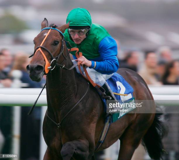 Seb Sanders and Cupid's Glory land The Stan James Horris Hill Stakes Race run at Newbury Racecourse on October 22 2004 in Newbury England