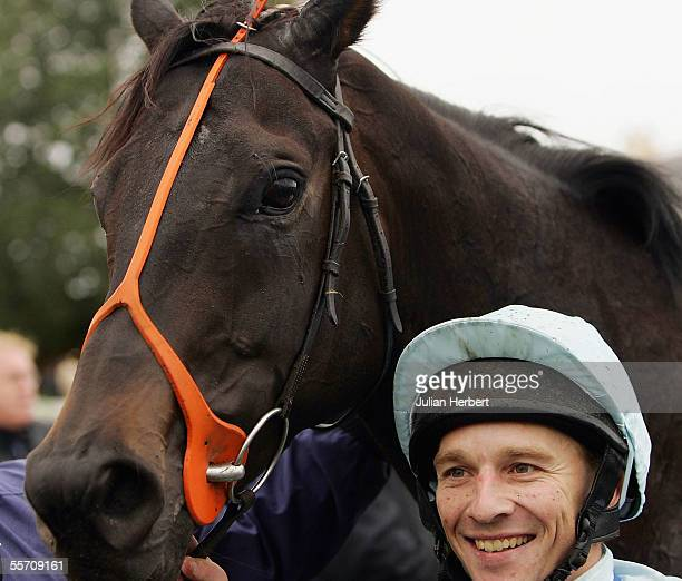 Seb Sanders and Presto Shinko are seen after landing The totesport Ayr Gold Cup Race run at Ayr Racecourse on September 17 2005 in Ayr Scotland