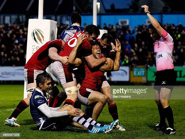 Seb Stegmann of London Welsh is mobbed by team mates after scoring a try during the Greene King IPA Championship play off final second leg match...