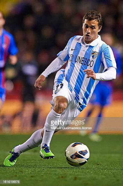 Seba of Malaga runs with the ball during the la Liga match between Levante UD and Malaga CF at Ciutat de Valencia on February 9 2013 in Valencia Spain