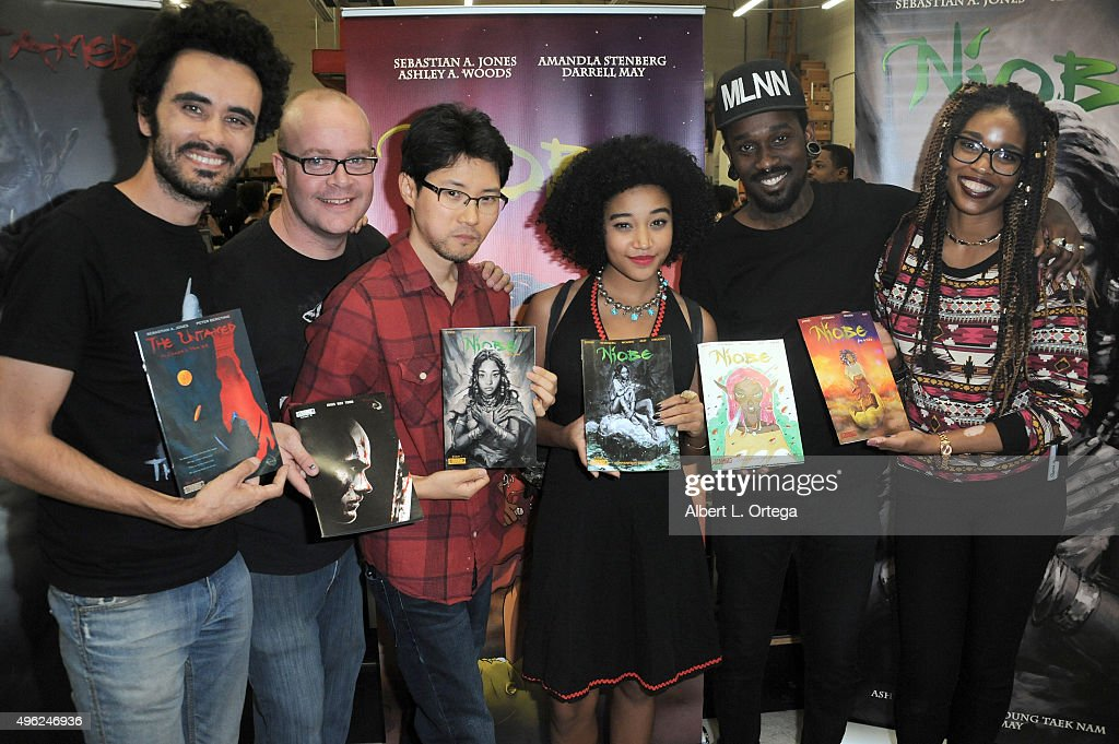 Sebastian A Jones, Darrell May, Hyoung Taek Nam, Amandla Stenberg, Markus Prime and Ashley A. Woods at Amandla Stenberg's Launch Party For 'Niobe: She Is Life' held at Hi De Ho Comics And Books on November 7, 2015 in Santa Monica, California.