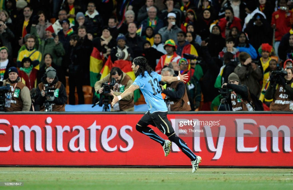 Sebastian Abreu of Uruguay celebrates after scoring the winning penalty during the 2010 FIFA World Cup South Africa Quarter Final match between Uruguay and Ghana at the Soccer City stadium on July 2, 2010 in Johannesburg, South Africa. The match ended 1-1 after extra-time. Uruguay won 4-2 on penalties.