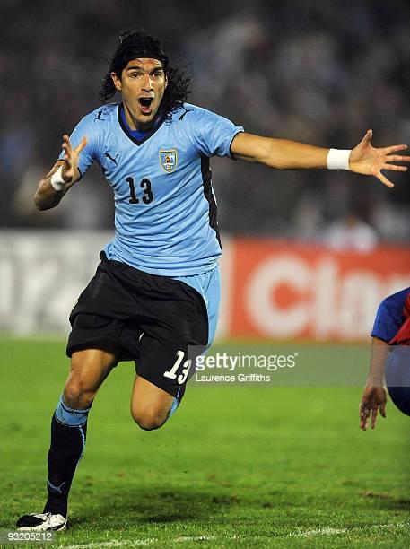 Sebastian Abreu of Uruguay celebrates his goal during the 2010 FIFA World Cup Play Off Second Leg Match between Uruguay and Costa Rica at The Estadio...